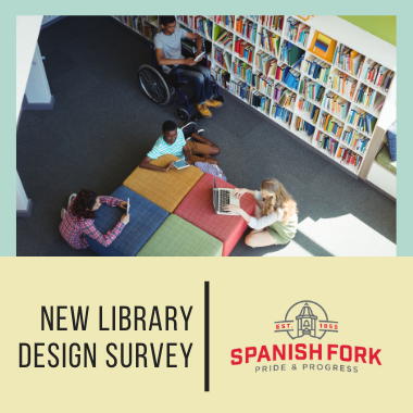 "Kids sitting in a library with heading, ""New library design survey"""